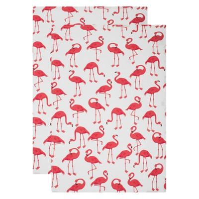 2pk Kitchen Towel Flamingo Print White - Mu Kitchen