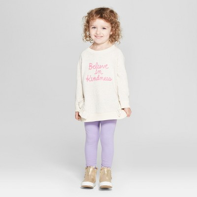 d32c5724 Toddler Girls' 2pc Long Sleeve Kindness T-Shirt and Leggings Set - Cat &
