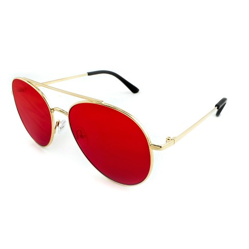 591720a0c73 Women s Aviator Sunglasses With Red Lenses - Wild Fable™ Gold   Target