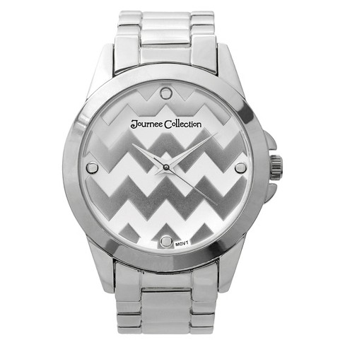 Women's Journee Collection Chevron Round Face Metal Link Watch - Silver - image 1 of 2