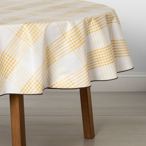 """70"""" Tablecloth Round Oil Cloth Canvas Yellow Plaid - Hearth & Hand™ with Magnolia - image 1 of 2"""