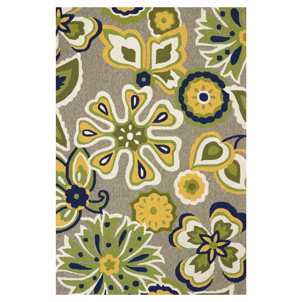 Green Abstract Hooked Area Rug - (7'10