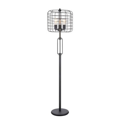 Industrial Cage Floor Lamp Black (Lamp Only)   Ore International by Ore International