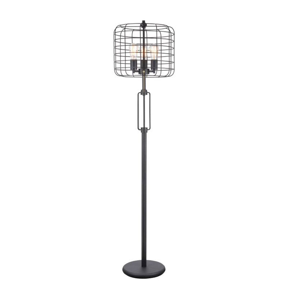 Industrial Cage Floor Lamp Black (Lamp Only) - Ore International
