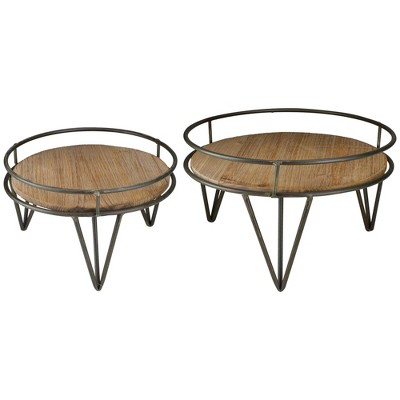 """Raz Imports Set of 2 Brown and Black Iron Plant Stands 12.5"""""""
