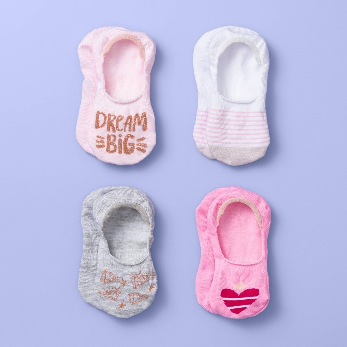 Girls' 4pk Liner Socks - More Than Magic™ Gray/White/Pink - image 1 of 2