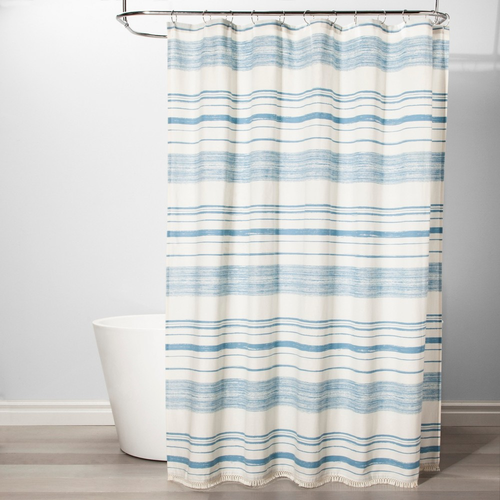 Variegated Stripe Shower Curtain Blue - Threshold, Beige/Blue