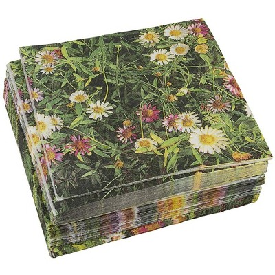 Juvale 100-Pack Daisy Floral Field Disposable Paper Napkins for Party Supplies (6.5 x 6.5 In)