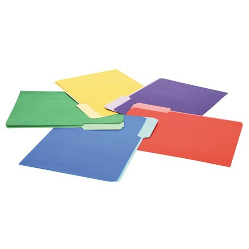 Universal® File Folders, 1/3 Cut Single-Ply Top Tab, Letter, Assorted,  100/Box