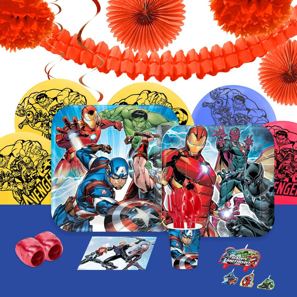 16 Guest Party Pack BuySeasons Epic Avengers Decoration Kit, Multi-Colored