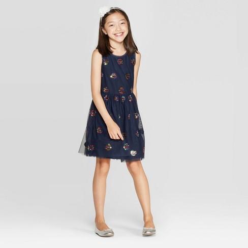 Girls' Flip Sequin Dress - Cat & Jack™ Navy - image 1 of 4