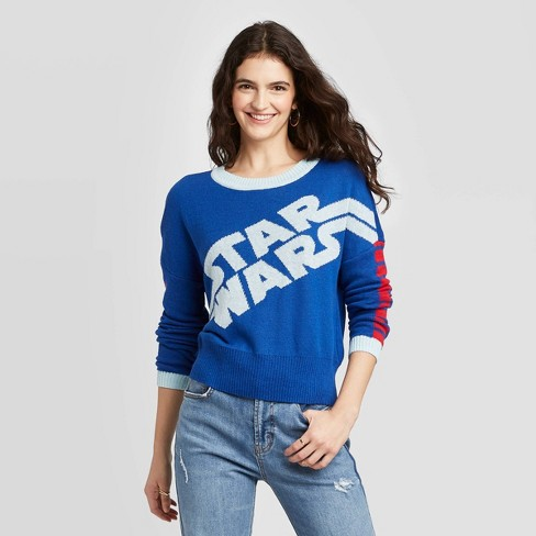 Women's Star Wars Crewneck Graphic Sweater - (Juniors') - Blue - image 1 of 2