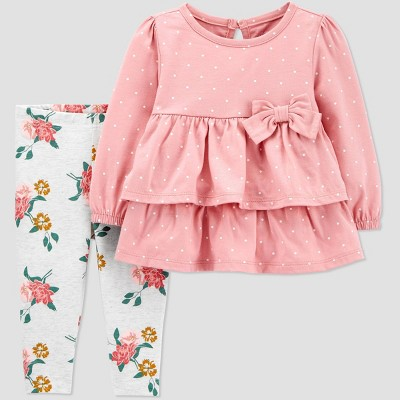 Baby Girls' Floral 2pc Top & Bottom Set - Just One You® made by carter's Pink 6M