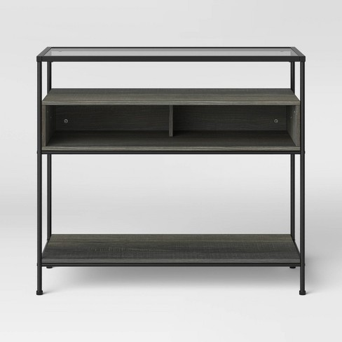 Fulham Glass Top Console Table with Wood Shelves - Project 62™ - image 1 of 4