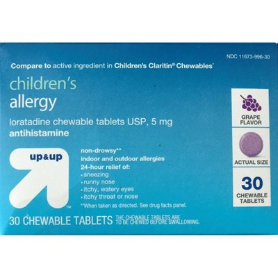 Children's Loratadine Allergy Relief Chewable Tablets - Grape - 30ct - up & up™
