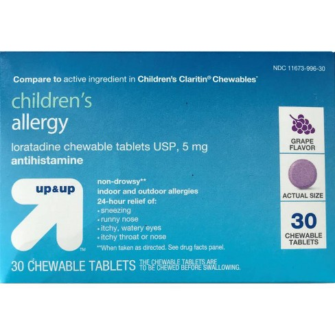 Children's Loratadine Allergy Relief Chewable Tablets - Grape - 30ct - Up&Up™ - image 1 of 1