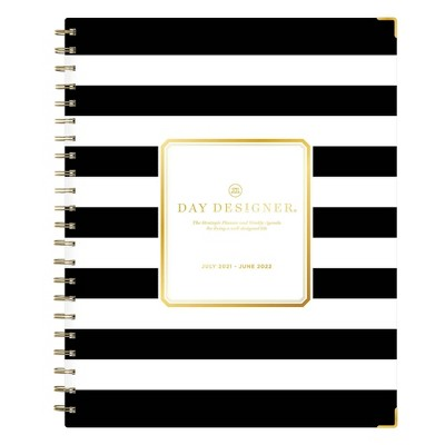 "2021-22 Academic Planner 8.5"" x 11"" Hard Cover Weekly/Monthly Wirebound Rugby Stripe Black - Day Designer"