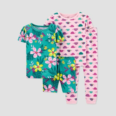 Baby Girls' 4pc Snail/Floral Pajama Set - Just One You® made by carter's Blue 9M