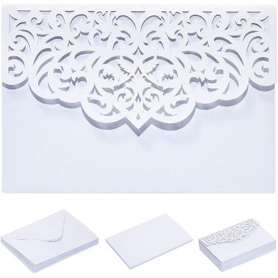 Pipilo Press 24-Pack Laser Cut White Lace Invitations Cards with Envelopes for Wedding Bridal Shower, 7x5 in