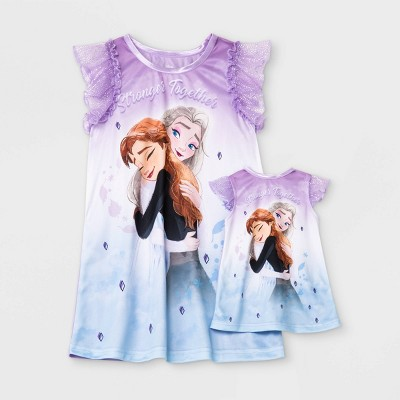 Toddler Girls' 2pc Frozen 'Doll and Me' NightGown - Purple