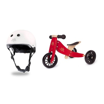 Kinderfeets White Adjustable Toddler and Kids Bike Helmet Bundle with Kinderfeets Cherry Red Tiny Tot PLUS 2-in-1 Balance Trike Tricycle