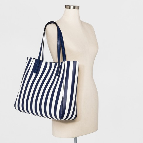 5e9efca15db9 Striped Small Reversible Tote Handbag - A New Day™ Navy   Target