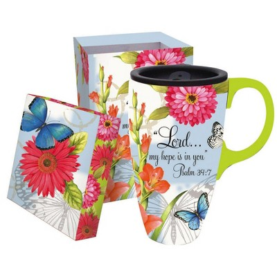 Evergreen Butterfly Blessings 17 oz. Boxed Ceramic Latte Travel Cup