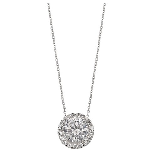 8992568ad52 Women's Round Clear Cubic Zirconia Pendant in Sterling Silver - Clear/Gray  (18