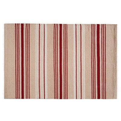 2'x5' Rectangle Indoor and Outdoor Stripe Accent Rug Red - C&F Home