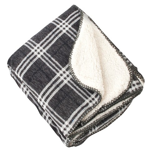 "Slate Plaid Design Sherpa Throw (50""X60"") - image 1 of 1"