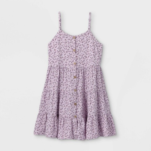 Girls' Button-Front Tiered Baby Doll Sleeveless Dress - art class™ - image 1 of 2