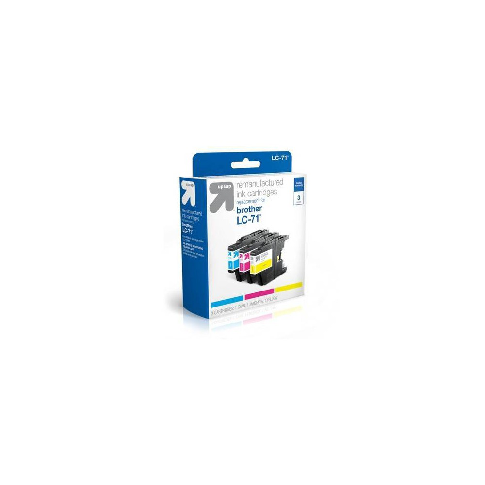 Brother LC 71 Ink Cartridge 3-Pack - Cyan, Magenta, Yellow - Up&Up, Multi-Colored UpandUp Ink Cartridges = Quality, Savings, Environmentally Friendly. The use of UpandUp brand Inkjets will Not void your printer warranty so buy with confidence, save money and get a high-quality replacement with a 100 percent satisfaction guarantee! Each original cartridge processed has been specifically filled and then tested, so it works like the original in your printer. UpandUp helps to protect the environment by keeping used original cartridges out of landfills for remanufacturing; Target recycles so bring your Inkjets back to Target. For support on your cartridge, call 877-925-3700; or go online to our cartridge support website. Color: Multi-Colored.