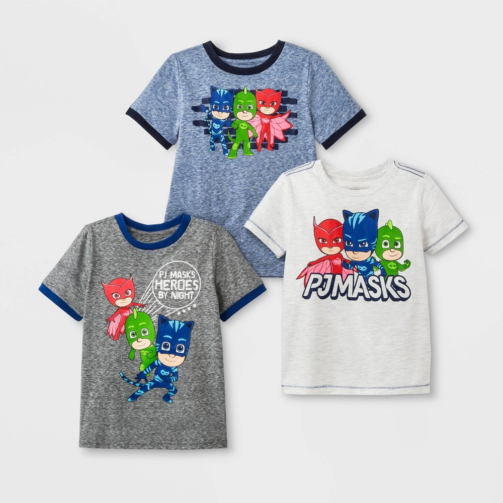 Image of petiteToddler Boys' 3pk PJ Masks Short Sleeve T-Shirts - Blue/White/Gray 2T, Boy's, MultiColored