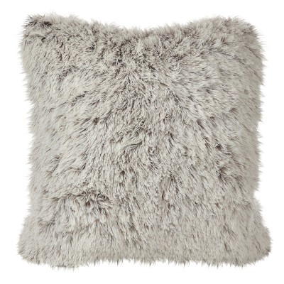 "Cream Juneau Two-Tone Faux Fur Throw Pillow (18"")- Saro Lifestyle"