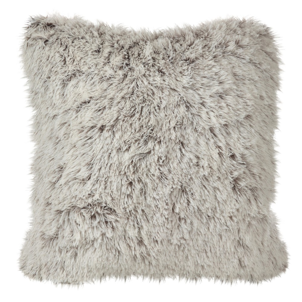 Cream (Ivory) Juneau Two-Tone Faux Fur Throw Pillow (18) - Saro Lifestyle