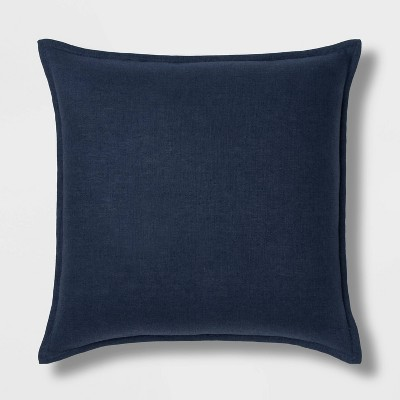 Oversized Square Reversible Linen Throw Pillow with Self Flange Navy - Threshold™