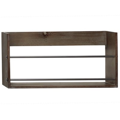 "23.5"" x 12"" Small Rustic Style Rectangular Wood Wall Shelf Gray/Brown - Olivia & May"
