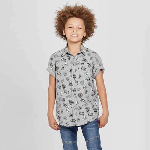 Boys' Star Wars Short Sleeve Button-Down Shirt - Charcoal Heather - image 1 of 3