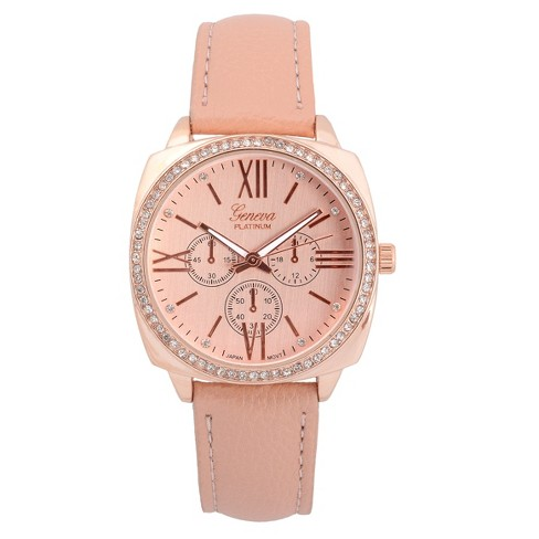 Women's Geneva Platinum Rhinestone Accent Roman Numeral Strap Watch - Blush/Rose Gold - image 1 of 3
