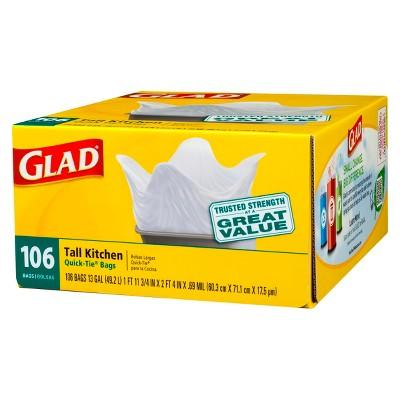 Glad Tall Kitchen Quick-Tie Trash Bags - 13 Gallon - 106ct