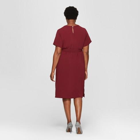 196ca91d6302e Women s Plus Size Crew Neck Dress - Ava   Viv™ Red   Target