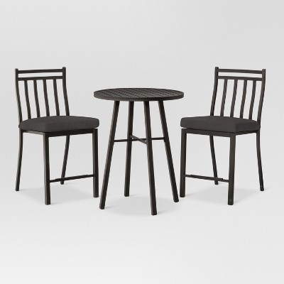 Fairmont 3pc Balcony Height Patio Bistro Set Charcoal - Threshold™