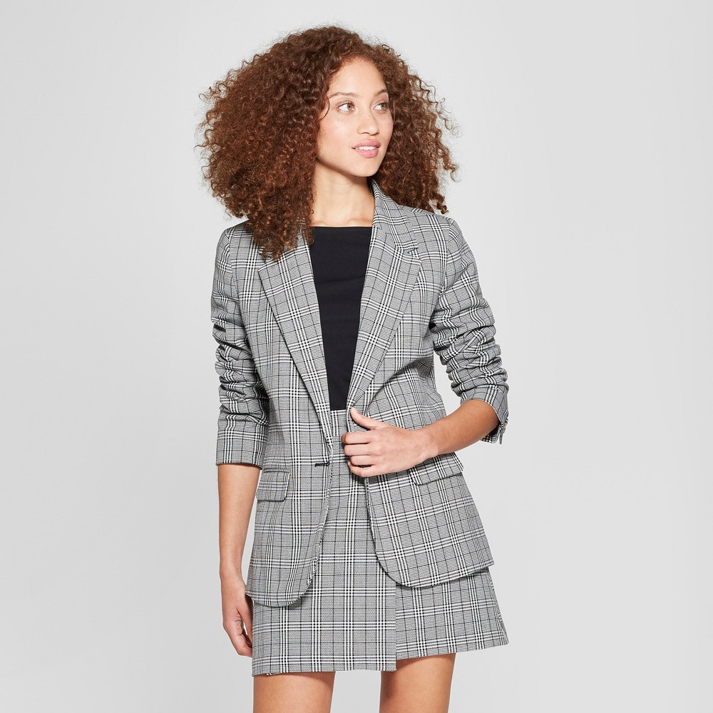 Women's Plaid Boyfriend Blazer - A New Day Gray 16