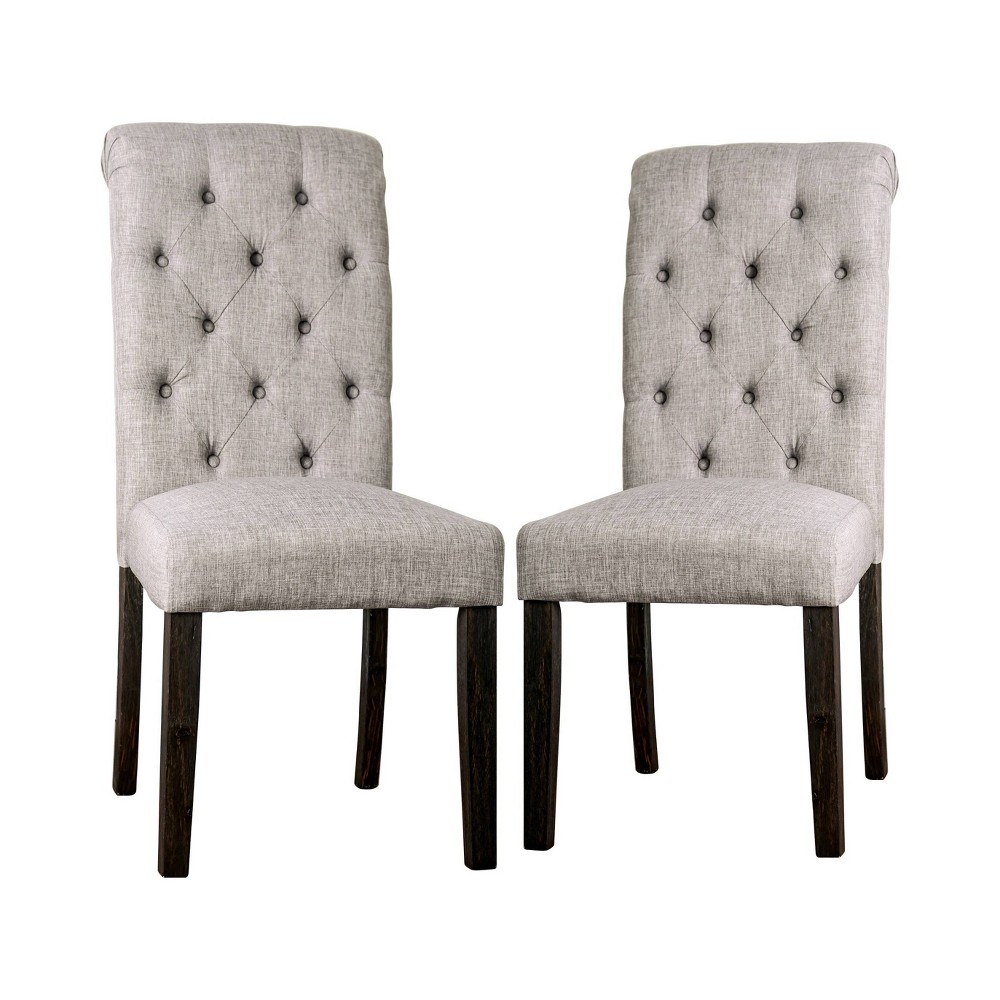 Image of 2pc Hepburn Scroll Back Side Chairs Black/Light Gray - ioHOMES