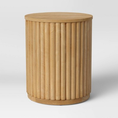 Wood Fluted Drum End Table Natural - Project 62™