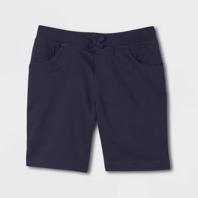 French Toast Girls' Uniform Pull-On Shorts with Knit Waistband - Navy