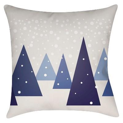 Navy Winter Wonderland Throw Pillow 16 x16  - Surya