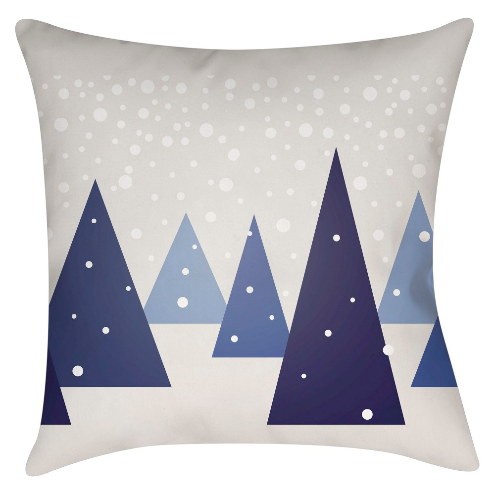 Navy (Blue) Winter Wonderland Throw Pillow 16