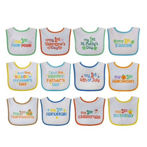 Neat Solutions Embroidered Holiday Infant Bib Set - 12pk - image 1 of 4