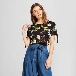 eef67e0efe9 Women's Floral Print Short Sleeve Knit Wrap Crop Top - clair White ...